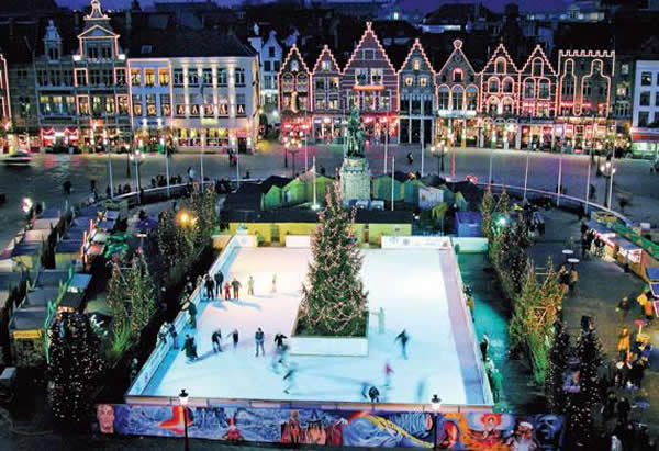 Ice Skating at one of Bruges Christmas Markets