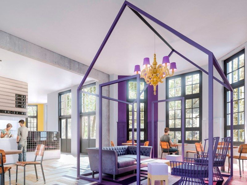 The reception area at the Hostel in Amsterdam will look colorful and spacious
