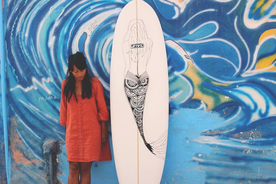 Surfboard art by Chanti Mai