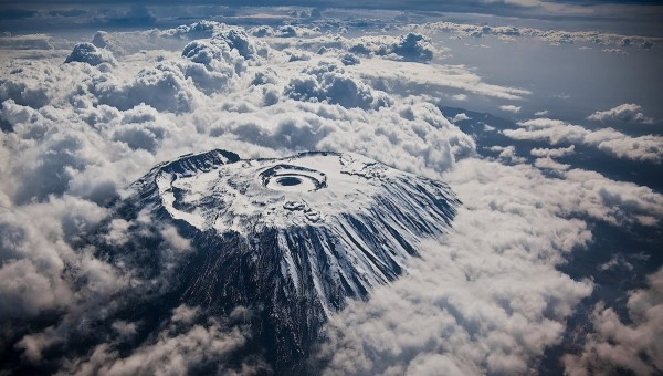 Highest point of Africa out of a window seat