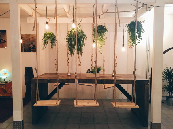Table with swings at Hearth Amsterdam