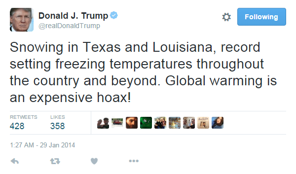 Trump on twitter about climate change